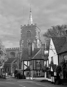 Rickmansworth, Hertsfordshire, England, with the 13th century church of St Mary's