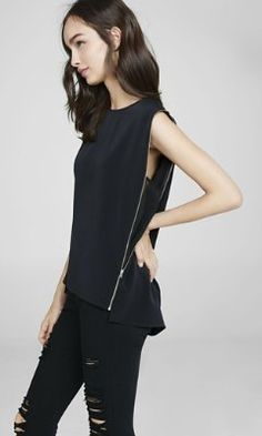 black side zip crew neck tank from EXPRESS