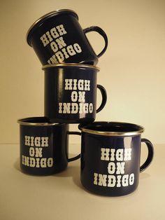 Dark blue enamel cup with HIGH ON INDIGO print