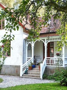 Pergola For Sale Cheap Porches, Cottage Porch, Swedish House, House With Porch, Pergola Shade, Patio Roof, Pergola Designs, Porch Decorating, Front Porch