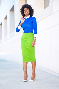 Crew Neck Sweater + Button Down + Pencil Skirt