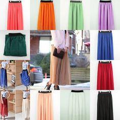 New Elegant Lady Girl Chiffon Pleated Retro Long Maxi Elastic Waist Skirt Dress