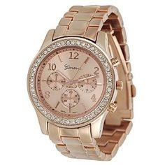 Geneva Platinum 9073 Women's Rhinestone-accented Link Watch