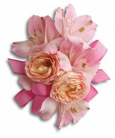 So pretty in pink roses with delicate pink alstroemeria. #campbellsflowers #corsages