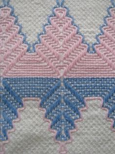 Lovely hand towel with pink and blue Swedish Huck embroidery.