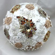 Silk Flower Brooch Bouquet: Wedding Bouquet with Silk by DreamSW