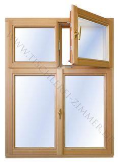 ... 4 flügeliges Holzfenster innen lasiert und außen mit deckendem Farbauftrag