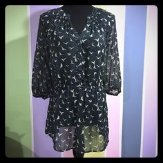 MOSSIMO Flow-y Blouse Worn one time. Looks brand new. Sheer with white birds, cinched waist. So cute and looks more expensive. Beautiful top. Mossimo Supply Co. Tops Blouses