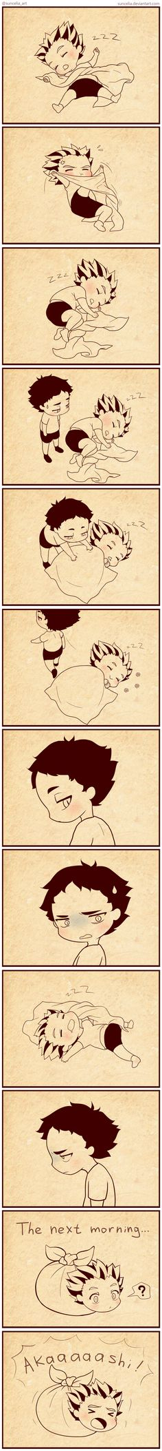 Haikyuu!! How do owls sleep by Suncelia on DeviantArt<<<that is seriously the cutest thing I have ever seen.