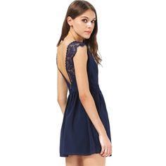Blue Contrast Lace Backless Chiffon Dress | berlinmo