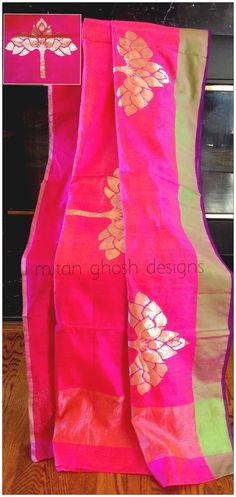 Chanderi Saree by Mitan Ghosh Indian Dress Up, Indian Attire, Indian Wear, Indian Outfits, Indian Bridal Lehenga, Indian Sarees, Beautiful Saree, Beautiful Outfits, Indiana
