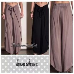 """Last 1❣Umgee envelope wrap pants small black Brand new never worn or tried on From coffee- to date or beach Boho -slouchy- beachy -flowy Envelope casualcomfy dressy pants Wide legged the leg is open & flowy By Umgee - Black Black is available in separate listing 65% cotton 35%rayon Size small best fits 0-5 Measurements layed flat 14.5 unstretched .. 18"""" stretched Zip closure with tie front Inseam 31"""" total length 41"""". This listing is for Black only. Mocha is sold out now Umgee Pants Trousers"""