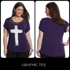 NWT NWT Purple and white graphic tee. Embellished short sleeve & scoop neck top. Length:~29. Do note manufacturer flaw if they meant left and right to match hardware-wise, a purple piece was left off. (Refer to the last pic)   xzthnizx Lane Bryant Tops