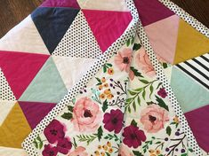 Bright Floral Triangle Quilt