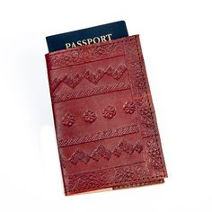 Sitara Collections Embossed / Red Leather Passport Cover
