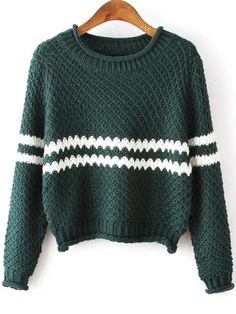 Green Round Neck Striped Crop Knit Sweater , High Quality Guarantee with Low Price!