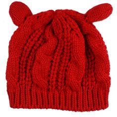 203f5b3334b Online offers   deals  Hot Hat Winter Cute Cat Ears Design Women S Winter  Knitted Hats Fashion Hemp Flowers from PinKart-USA Item Type  Skullies ...