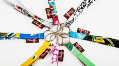 Easy to find in your bag, these bright key rings have a strap big enough to put around your wrist. Perfect for hanging on hooks to grab and go. Attach your thumb drive, scissors, or small accessories to one to make them easy to find! 6″ long, made from colorful, laminated-type fabric that is water resistant and cleanable.