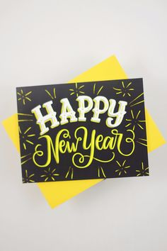 "Send a new year message with this card that features my hand drawn, original lettering. ♥ DETAILS - s i z e : (1) card measuring approx. 4.25"" x 5.5"" (when folded) - printed on 120# Cover stock with a"