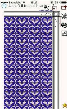 4 shaft, 6 treadle heart pattern