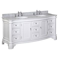 katherine 72 inch double vanity carrarawhite includes white cabinet with authentic italian carrara marble countertop and white ceramic sinks 72 Inch Bathroom Vanity, White Bathroom, Bathroom Storage, Modern Bathroom, Small Bathroom, Bathroom Ideas, Bathroom Vanities, Bath Ideas, Bathroom Cleaning