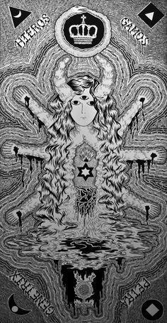 Obra: Hieros Gamos, Petra Genetrix / Artista: Christian Castañeda /    Dimensiones: 140 x 75 cm /   Técnica: Tinta y acrílico sobre tela /   Fecha: 2010 / artroomtalent.com