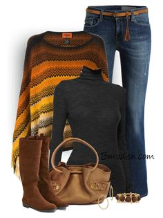 """""""Zig Zag Knit Poncho"""" by wulanizer ❤ liked on Polyvore featuring Missoni, T By Alexander Wang, Cole Haan, American Eagle Outfitters, Bony Levy and Kenneth Jay Lane"""