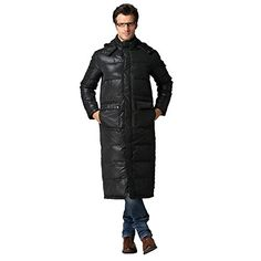 Aileen88 Men's Winter Warm Hooded Thicken Long Duck Down Coat Jacket Parka