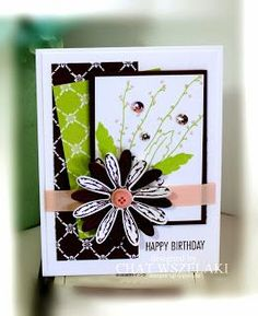 Hello Peeps !!! Happy Friday !!! I did another card using the Daisy Delight stamp set with the coordinatingDaisy Punch. I also used the new Fresh Florals DSP for my background.I used the Fresh Fig In