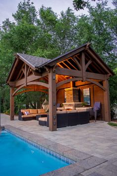 Outdoor Kitchen Ideas - Get inspired by these amazing and innovative outdoor kitchen design ideas Outdoor & Patio Backyard Pavilion, Backyard Gazebo, Backyard Patio Designs, Backyard Landscaping, Patio Ideas, Backyard Ideas, Backyard Pools, Desert Backyard, Outdoor Ideas
