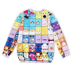 Sexyinlife Women's Fashion Pokemon Character Printed Pullover Sweater,Sweatshirts,Medium