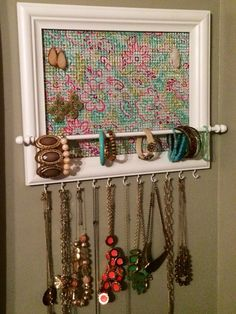 Wood Frame Jewelry Organizer Earring storage Wall hangings and