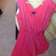 Bebe silk top Coral silk top with side zip bebe Tops Blouses