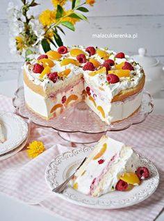 Pyszny Tort Jogurtowy z Malinami i Morelami Delicious Yogurt Cake with Raspberries and Apricots - Recipe - Small Candy Polish Desserts, Polish Recipes, Sweet Desserts, Delicious Desserts, Apricot Recipes, Cake Recipes, Dessert Recipes, Yogurt Cake, Summer Cakes