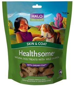 Halo Healthsome Skin and Coat Natural Treats with Dream Coat for Dogs, 6oz -- Wow! I love this. Check it out now! : Dog treats
