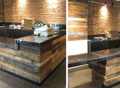 Wood Pallets Deli with recycled pallets countertop - We recently stopped by the new gourmet deli Taylor on H Street the other day to check it out, and found ourselves as impressed with the decor as we were with their mouthwatering sandwich menu Pallet Countertop, Outdoor Kitchen Countertops, Concrete Countertops, Cement Counter, Concrete Floors, Recycled Pallets, Wood Pallets, Pallet Wood, Pallet Bar
