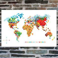 Pixel Map 'Colors of the World' Art Print 20 x 30 // Modern World Map // Modern Art Decor // Map Art // 8 bit Pixels // Digital Print