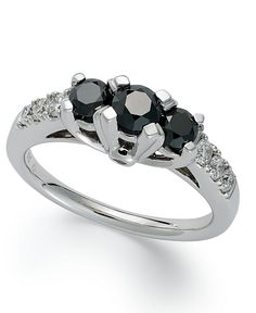 14k White Gold Ring, Black Diamond 3-Stone Ring (1 ct. t.w.) - Rings - Jewelry & Watches - Macy's