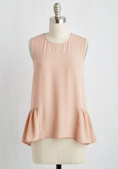 Drift and Sure Top - Pink, Solid, Work, Fairytale, High-Low Hem, Peplum, Sleeveless, Woven, Good, Scoop, Mid-length
