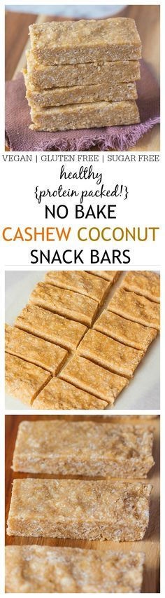 Healthy No Bake Cashew Coconut Protein Bars- A healthy, delicious, no bake protein bar which uses 1 bowl and takes 5 minutes- No food processor necessary! Perfect for on the go snacking and suitable for those following a gluten free, dairy free  or vegan diet! @thebigmansworld - thebigmansworld.com
