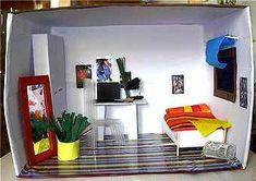 schuhkarton basteln kinder haus puppen zimmer schlafzimmer pink kunst schuhkarton pinterest. Black Bedroom Furniture Sets. Home Design Ideas