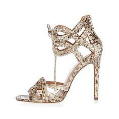 Sandales à brides en serpent à lacets