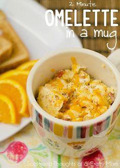 Great Breakfast idea! 2 Minute Omelette in a Mug. From www.scatteredthoughtsofacraftymom.com