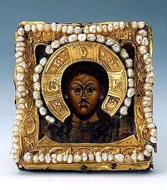 Icon of Christ Pantocrator    Early 17th century    Moscow    Oil on panel, gold, pearls, fabric and paper; chased, engraved and matted