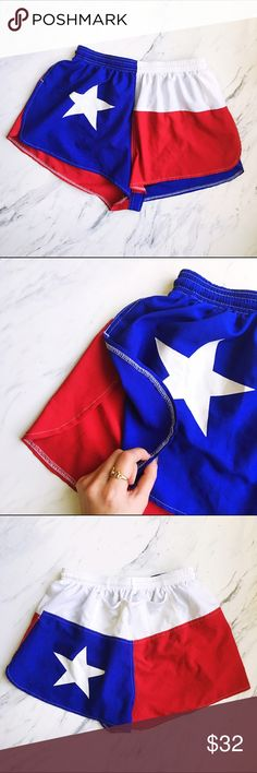 Texas Flag Running Shorts Perfect condition, only worn once. Perfect for the ultimate Texan. Underwear liner: yes. High side leg slits as pictured. Shorts