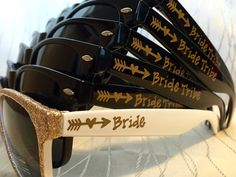 Black and Gold Bride Tribe sunglasses are completely customizable!
