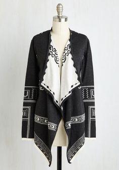 Cozy Companionship Cardigan - Long, Knit, Black, White, Print, Other Print, Film Noir, Long Sleeve, Winter, Better