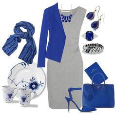 """""""GrayWithRoyalBlue"""" by agolm on Polyvore"""