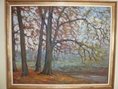 Autumn at 'Het Riet' and 'de Nethe' in Westerlo. Not finished. 1980's? One of his most favorite places to paint.