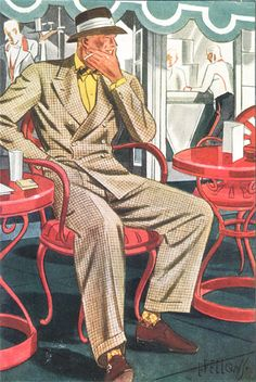 MEN OLD 1935 Men's Windowpane pattern summer suit- men's clothing and fashion. 1940s Mens Fashion, Mens Fashion Suits, Mens Suits, Vintage Fashion, Men's Fashion, Fashion History, Fashion Outfits, Fashion Trends, Mode Masculine